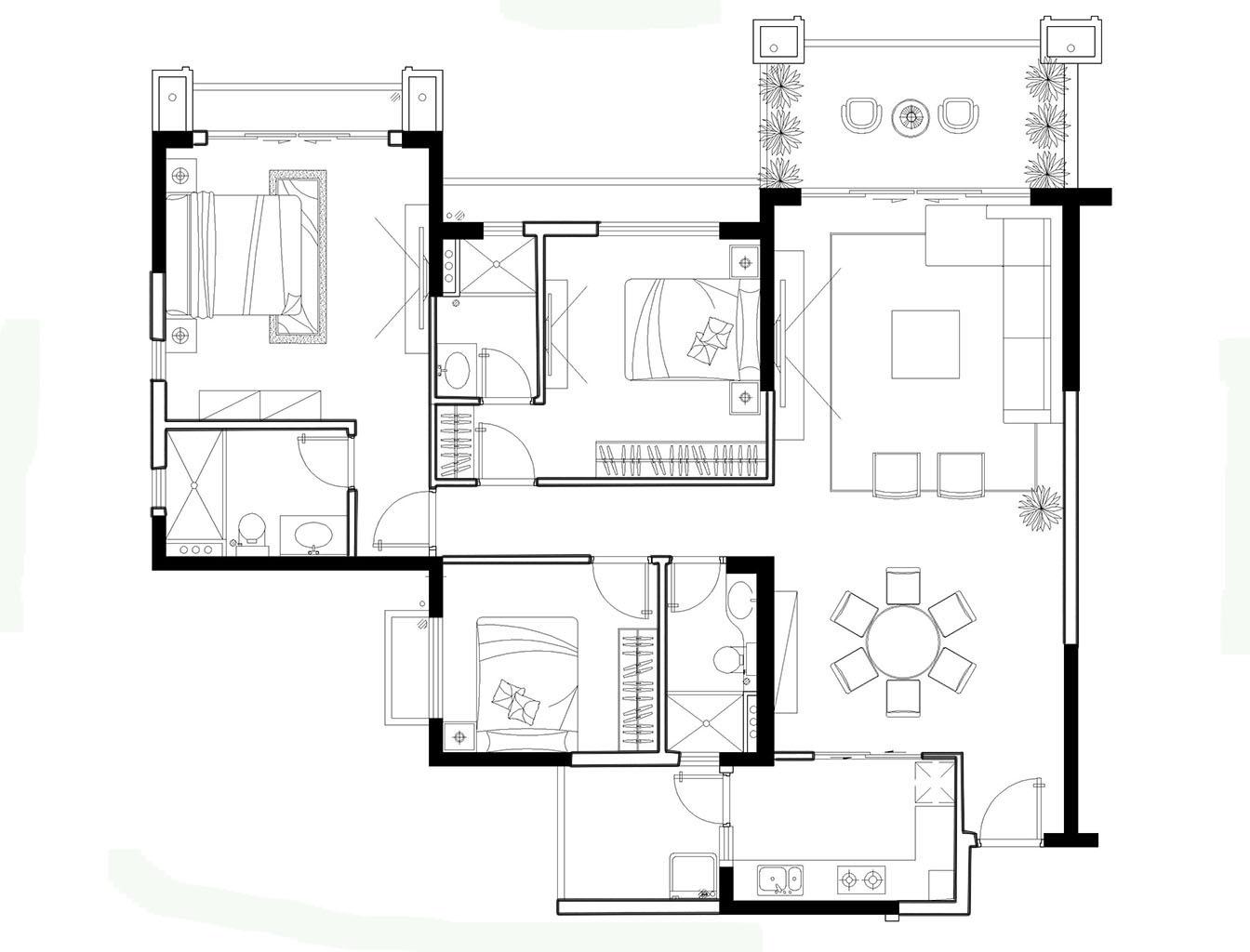 三居 欧式 可逸江畔 145平米 新房装修 户型图图片来自传承正能量在31.9万的简约时尚的温馨家庭的分享