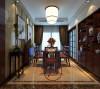 餐厅餐桌搭配,酒柜造型都具有中国红元素,古色古香