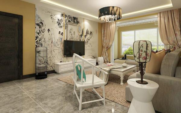 造型典雅的白色中式家具与现代简约布艺沙发相结合,不仅反映出现代人追求简单生活的居住要求,更迎合了中式家具追求内敛质朴的设计风格。使新中式更加实用、更富现代感。