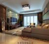 客厅空间宽敞,色彩温馨宜人,电视背景墙和沙发背景墙都具有中国元素,具有中国传统文化气息