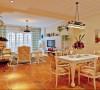 设计理念:餐厅与客厅是在一起的,所以更要体现出整个空间贯通与衔接。 亮点:与客厅一样采用了白色为主,高档的桦木制作墙面背景,让客厅与餐厅的墙面有个一个延伸,不会出现明显的区域划分.