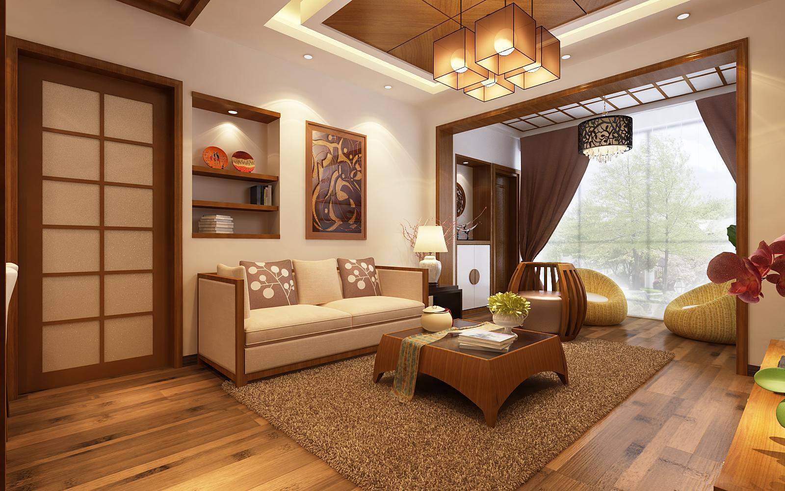 客厅图片来自西安市生活家装饰在小户型新中式风格的分享