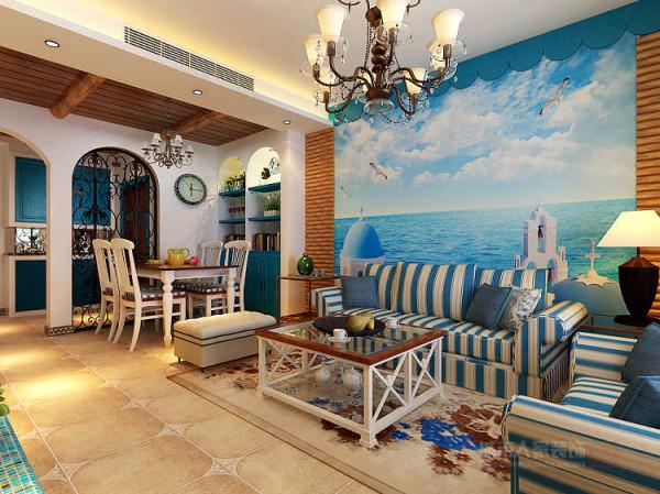 沙发墙上左右两边取材于大自然中原始的原木拼接以及手绘的碧海蓝天、金色沙滩,富有浓烈民族特色的踢脚线。