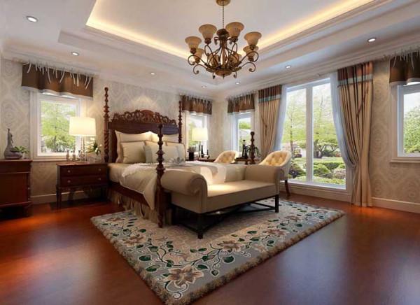 墙面以东方图案的壁纸为背景色配以深棕色的原木地板 原木家具及米黄色的家具做主体色,休闲气息中不失雅致氛围。