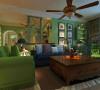 客厅内的整体设计、配饰沙发的色彩搭配按照整个设计理念有条理