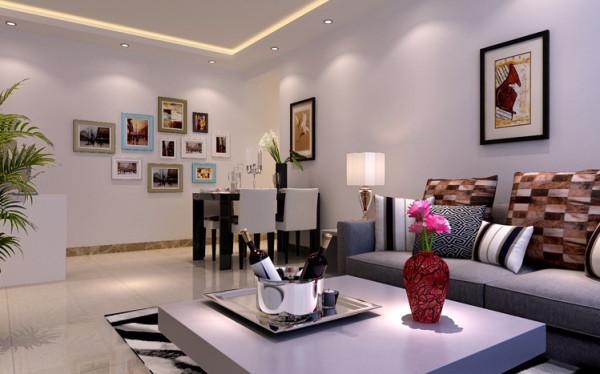 餐厅背景墙以壁画的形式简单来装饰,再加上现代风格餐桌,使得会客空间充满了现代气息。从而使得餐厅的空间非常宽敞。