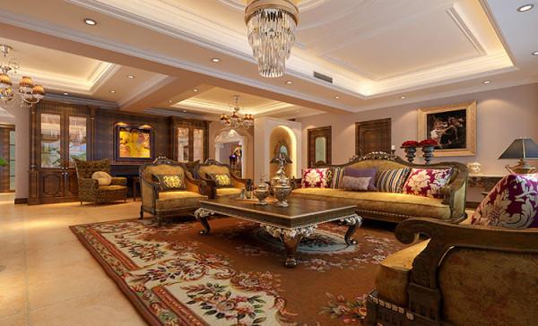 整个空间设计运用了古典风格新奢华的装饰手法,新奢华的概念就是在古典的奢华基础上加入了现代新颖的元素,现代的材质和现代的表现手法,