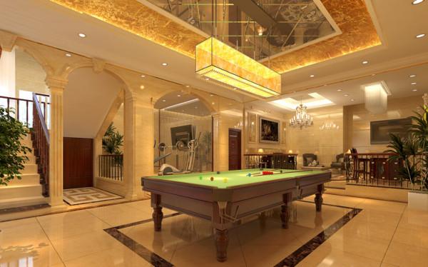 地下休闲室结合多种娱乐休闲方式,包括敞开式台球桌、健身锻炼区、饮茶聊天区。各个功能区之间相互协调。使整个空间具有灵动性。