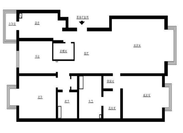 合肥万振城市广场-美式田园-124平米三居室装修——原始户型图