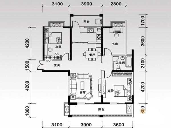 合肥万振城市广场-美式田园-124平米三居室装修——平面布置图