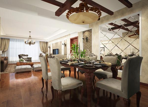 合肥万振城市广场-美式田园-124平米三居室装修—餐厅