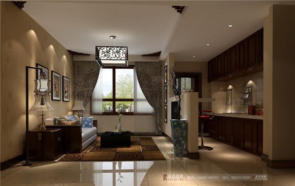 红树湾客厅厨房细节效果图-成都高度国际装饰