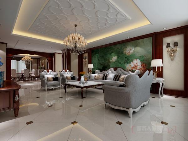 客厅色彩鲜艳又不失稳重,整体空间以欧式风为主搭配了多种经典欧式元素及装饰品,摒弃了以往欧式的繁复,给人以清新素雅及稳重之感。