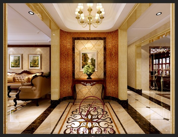 玄关位置设计师设计的是户型造型,主要的材质是马赛克和瓷砖,从入户门进来看到的是景观,让客人眼前一亮