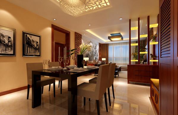 餐厅所在位置本身光线极好,所以无论怎样餐厅都会是一个宽敞明亮的处所。现代风格的餐桌和椅子,中式风格的装饰挂画,回型格子吊顶,暖黄色的明亮地砖,混搭中体现中式与现代的互相包容与接纳。