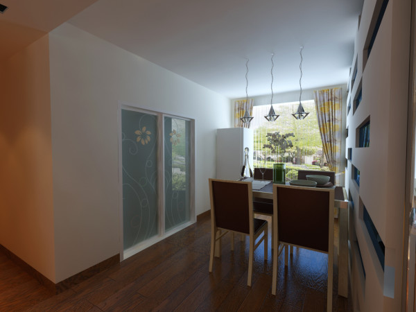 设计理念:餐厅地板上墙做顶,让整个的餐厅有一个色彩的对比性,让人眼前一亮有新鲜感。