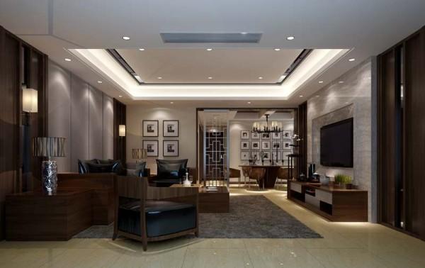 东山国际社区新中式风格设计客厅
