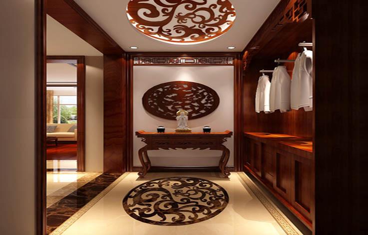 玄关图片来自高度国际装饰王伟在东湖湾---新中式风格效果图的分享