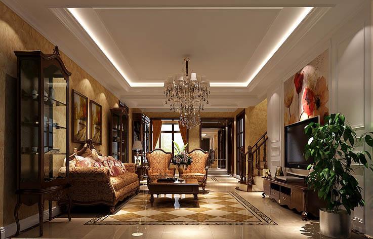 托斯卡纳 四居 田园 欧式 混搭 收纳 白领 室内装修 客厅图片来自高度国际装饰王伟在金色漫香苑—托斯卡纳风格效果图的分享