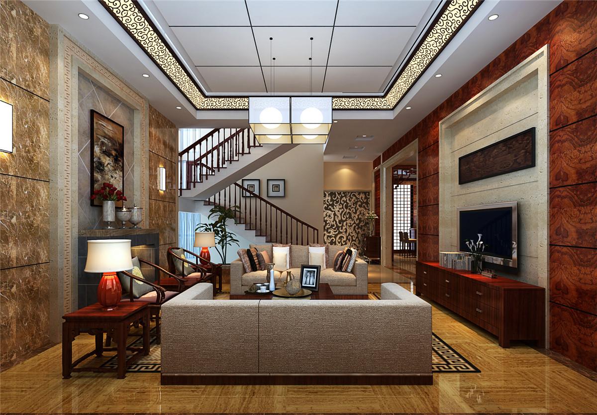 中式风格 别墅 新房装修 客厅图片来自实创装饰上海公司在中式风格别墅装修效果图的分享