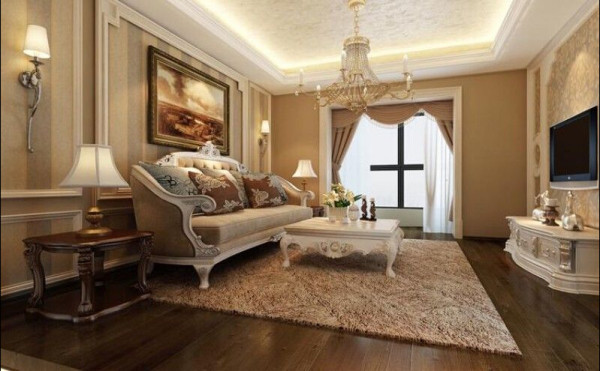 常住人有4口人,客厅采用了木质地板,吊顶上采用了比较简单的矩形平顶,提升了整个空间的大小, 在家具配饰上也采用美式元素较强的美式家具,更提升了整套房子的品质。