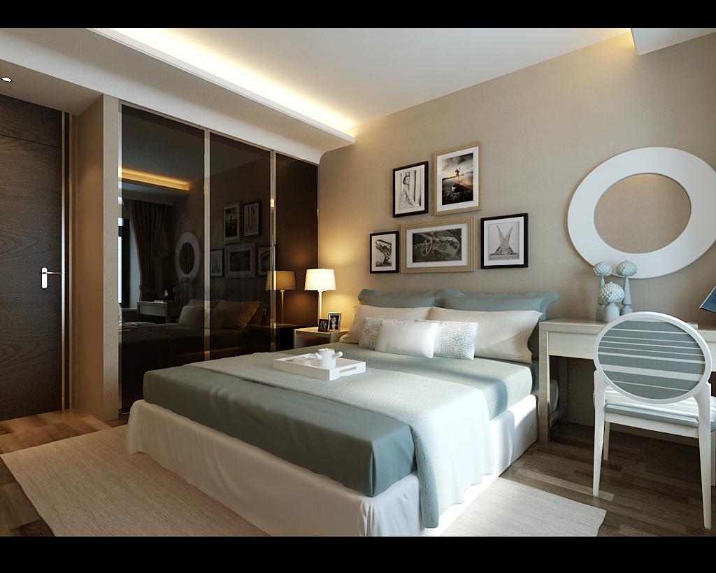 简约 三居 新房 卧室图片来自实创装饰上海公司在现代木色风格设计三居室装修的分享