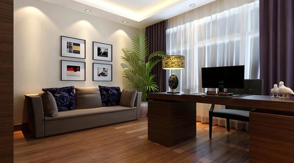 设计理念:深色系家具打造后现代书房,黑白灰凸显现代气息。 亮点:沙发背景墙上方点缀若干照片,兼具美感和装饰功能。紫色与白色窗帘的搭配又为此空间增添现代气息。