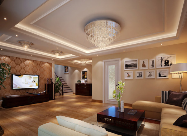 设计理念:  入户门放了一组收纳衣帽柜,并用镜面做装饰使整个空间更宽敞明亮。整个客厅运用简单的吊顶分区及豪华的水晶灯显简单大气,又不失品位。