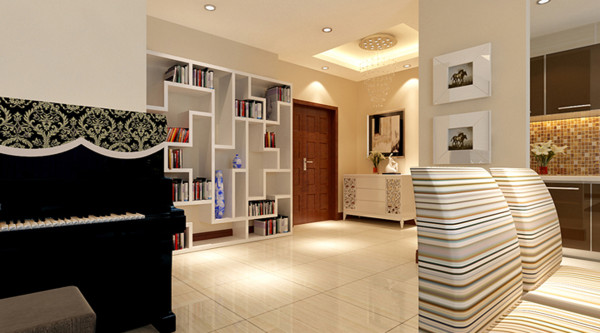 设计理念:门厅的多宝阁更加增加美与功能的结合,经过设计师的精心构思,最终赢得客户的一票通过 亮点:门厅吊顶可以明确划分空间和拉伸空间,显得简单大方,白色的装饰柜和多宝阁起到了明显的装饰效果。