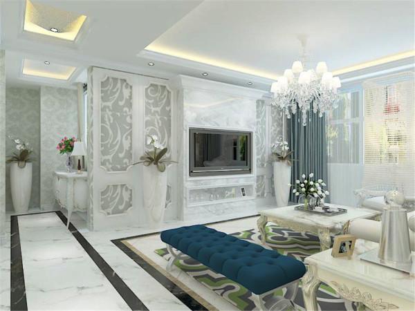 该户型为中信公园城二期洋房标准层D户型三室两厅两卫一厨,设计风格是简欧风格,整体以暖色调为主。