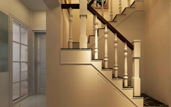 鞋柜藏于楼梯下,不仅美观,而且更加实用。
