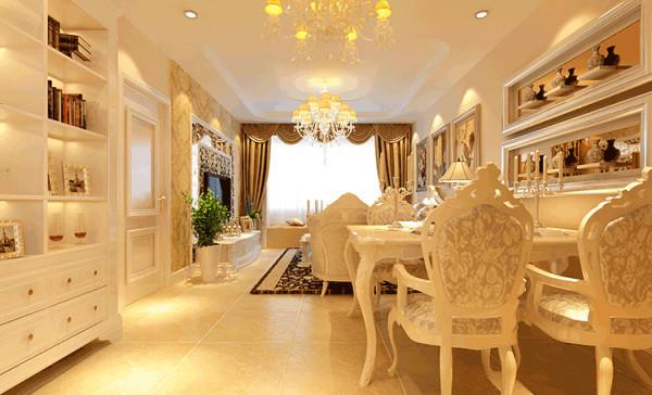 餐厅的石膏吊顶设计主要是拉伸空间,冷感的白色浮雕家具,配以奢华的水晶吊灯,充满了奢华时尚之感。