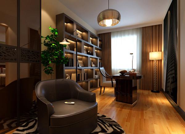 设计理念:透过简单不做作的光影来影射木质的安定与温暖,让冷硬的空间变成温馨的家。 亮点:利用简洁的灯光和自然光的结合加上有秩序的书柜展示了书房的冷静与沉稳。