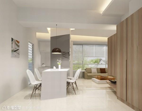 压低窗台外的绿意摇摆,台北市精华区难得一见的奢侈视野不只作为客厅的设计主景,京彩设计更拿掉多余隔间墙作为全室设计主景。(此为3D合成示意图)