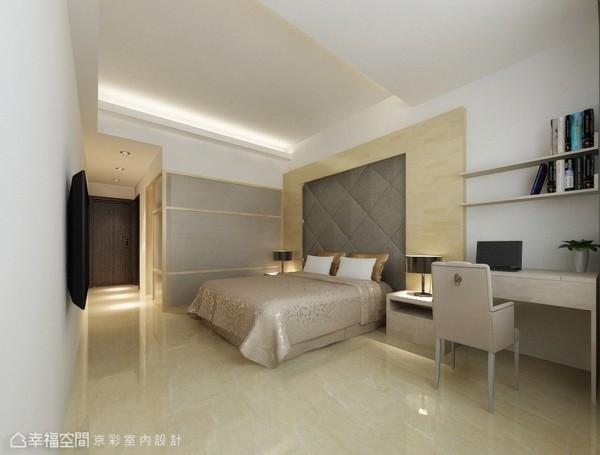四房格局中以双主卧概念呈现,除了独立卫浴外,尚有更衣室规划。(此为3D合成示意图)