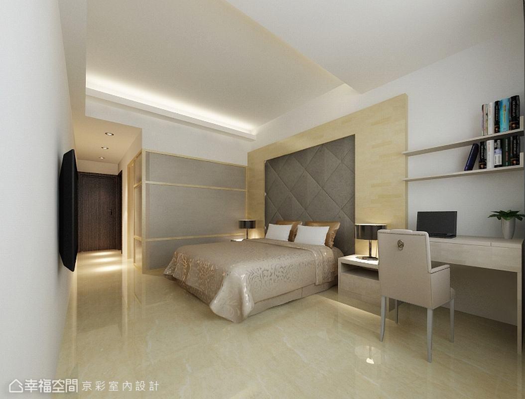 卧室图片来自幸福空间在106平多角柜体 放大生活视野的分享