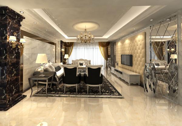 """""""低调奢华""""的核心意义是用低调的方式诠释奢华,简单的手法表现华丽气质。注重设计出更高品质的优质生活空间。此客厅设计中采用了软包,也采用了玻璃墙来装饰,体现了设计的主题。"""