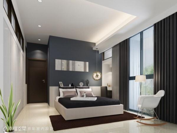 卧房以简约线条铺陈,在色彩的深浅层次中,让生活自述空间表情。(此为3D合成示意图)