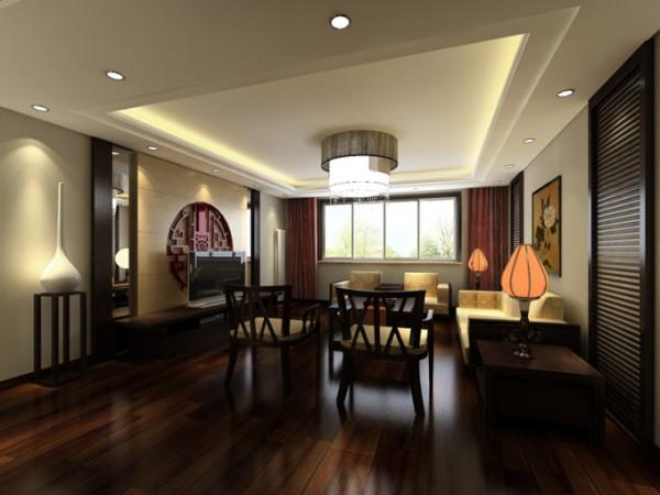 客厅在整套房子中是作为重心存在的空间,在设计的时候考虑到户主的喜好和性格特点,使用了比较深沉的实木颜色,传统的中式样式被结合到背景墙的设计当中。整体空间简洁不失优雅。