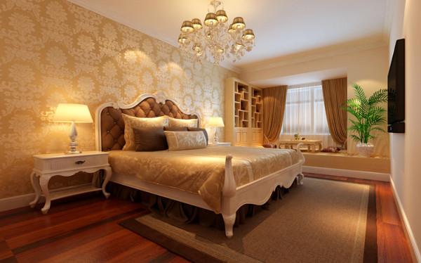 设计理念:卧室床头主背景选用的是简单舒适的壁纸,其他三面墙为辅刷米黄色墙漆,与客厅保持协调一致。