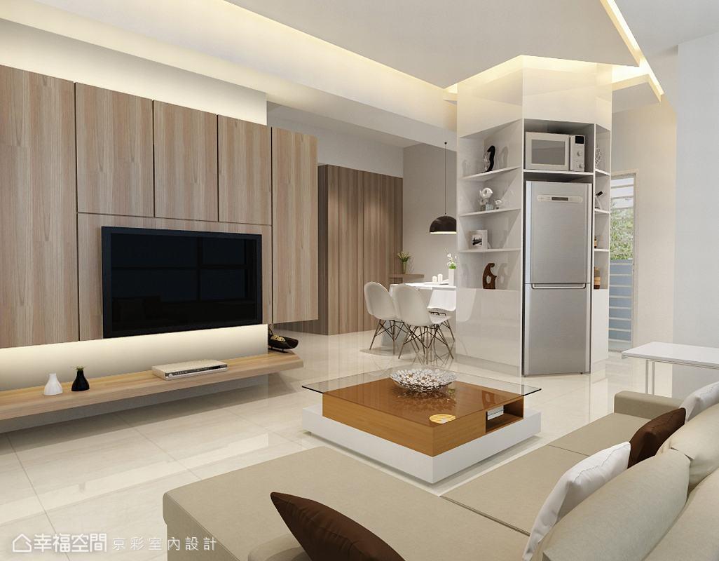 客厅图片来自幸福空间在106平多角柜体 放大生活视野的分享
