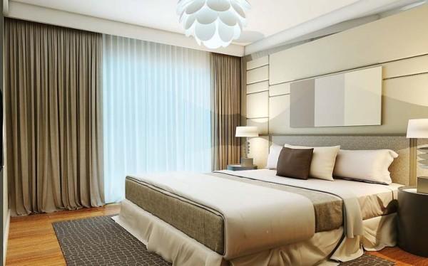 设计理念:卧室是为家人提供睡眠、休息的场所,当然要有一个安静的环境。尽量保持卧室的功能单一性,要知道功能越简单的卧室受到打扰的可能性就越低、舒适度也会随之越高。