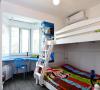 业主家有两个小孩,考虑到空间不是很大,所以把小孩的卧室打造成上下铺,小孩子有个伴了,爸妈也能省不少事