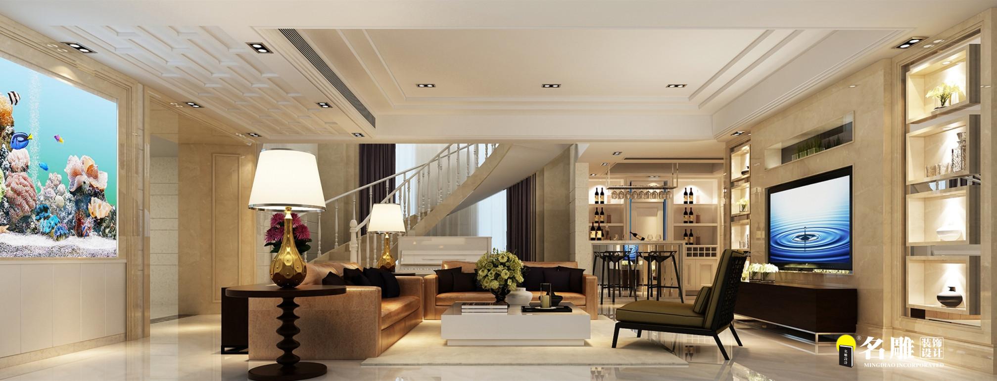 现代 复式别墅 精致 4厅 12室 11卫 客厅图片来自名雕装饰设计在简约不简单的分享