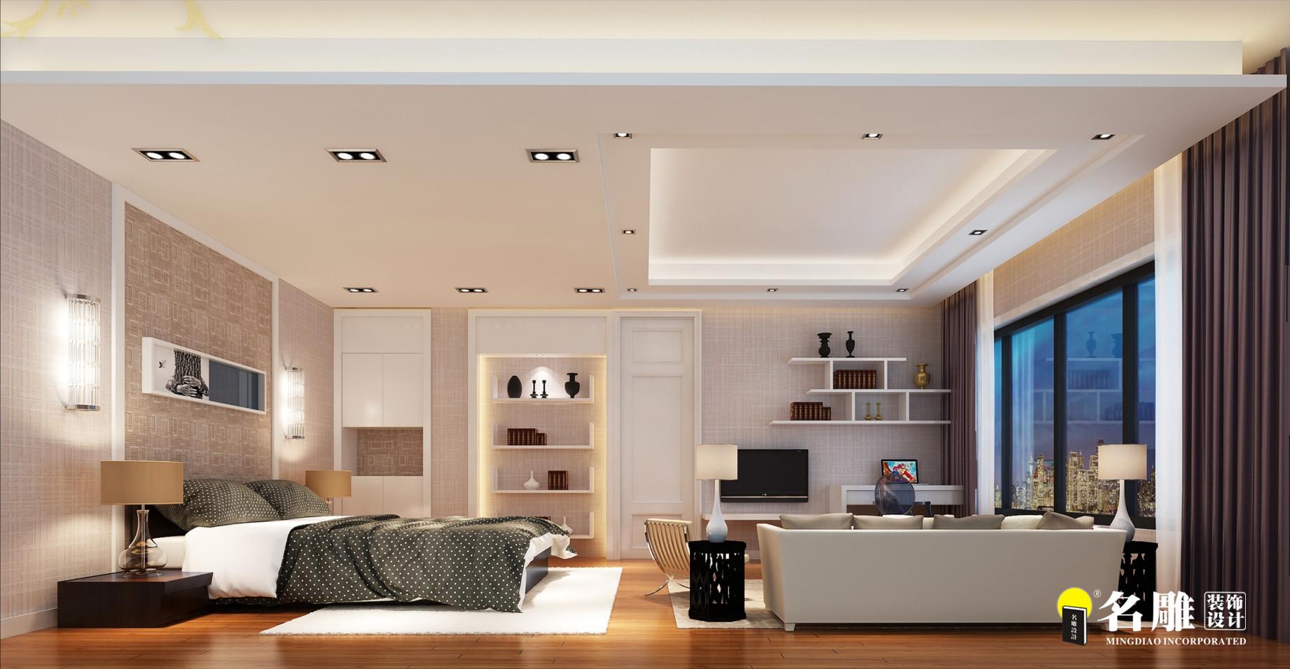 现代 复式别墅 精致 4厅 12室 11卫 卧室图片来自名雕装饰设计在简约不简单的分享