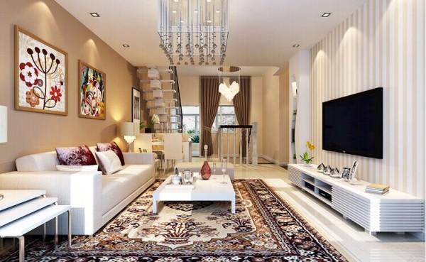 客厅简单温馨 ,暖色的大花纹地毯,条纹状的壁纸,温馨徜徉在整个空间