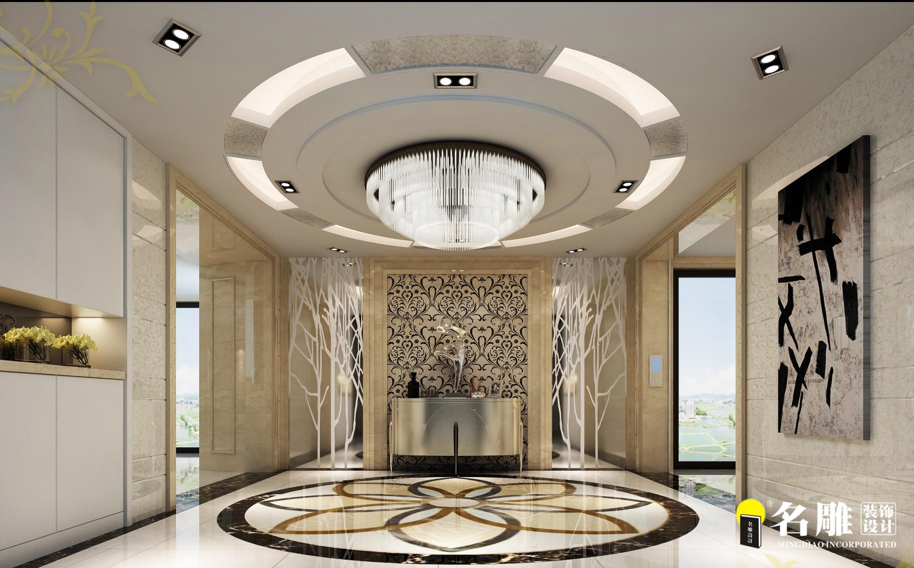 现代 复式别墅 精致 4厅 12室 11卫 玄关图片来自名雕装饰设计在简约不简单的分享