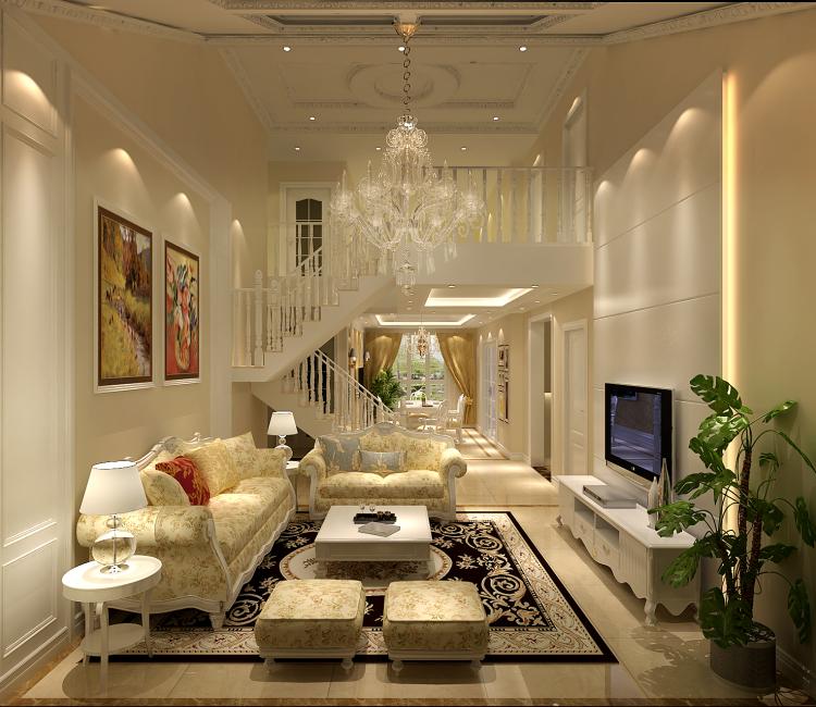 欧式 简约 复式 客厅图片来自高度国际装饰设计集团凌军在正源尚峰尚水151平米简欧的分享