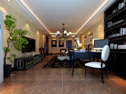 散发出浓浓的欧式乡村情怀,轻松恬静。古朴的米色地砖和富于造型的欧式家具让整个空间温暖和煦,墙面简洁的壁炉造型平添几许生活气息。
