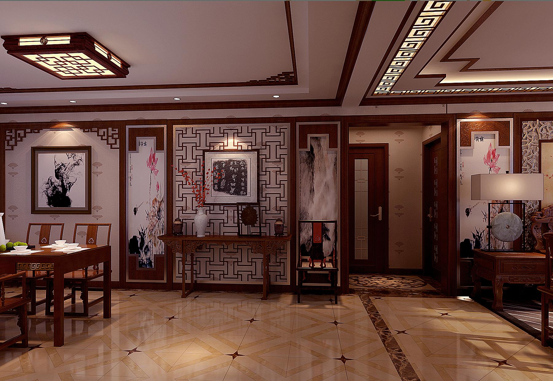 中式 四居 玄关图片来自北京今朝装饰刘在V7西园中式文化生活的分享